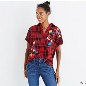 Madewell embroidered central shirt in plaid sz xs